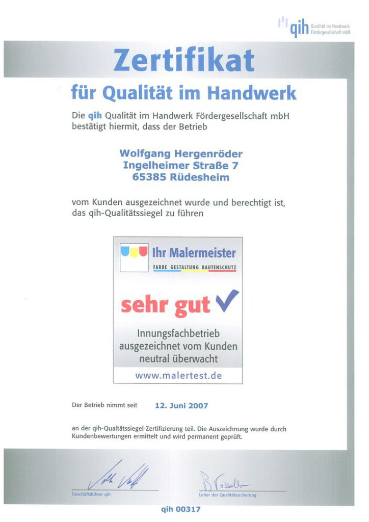 qih-Zertifikat